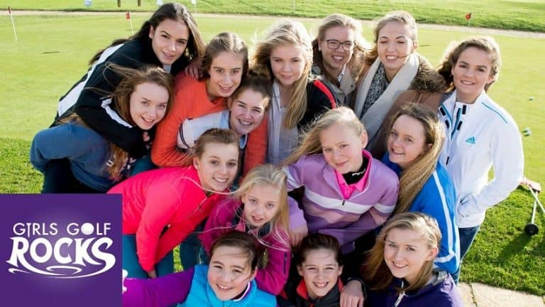 official image of Girls Golf Rocks programme supported by Kelly Bridges golf at broadstone golf club