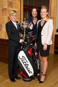 image of top three female golfers, Alex Molin, Kelly Hanwell (now Kelly Bridges) and Emma Fairnie, at PGA annual graduation ceremony in April 2014