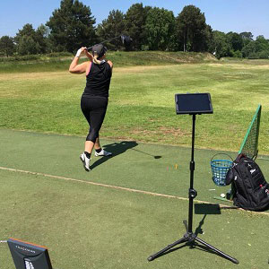 Using Trackman in a ladies golf lesson in Bournemouth
