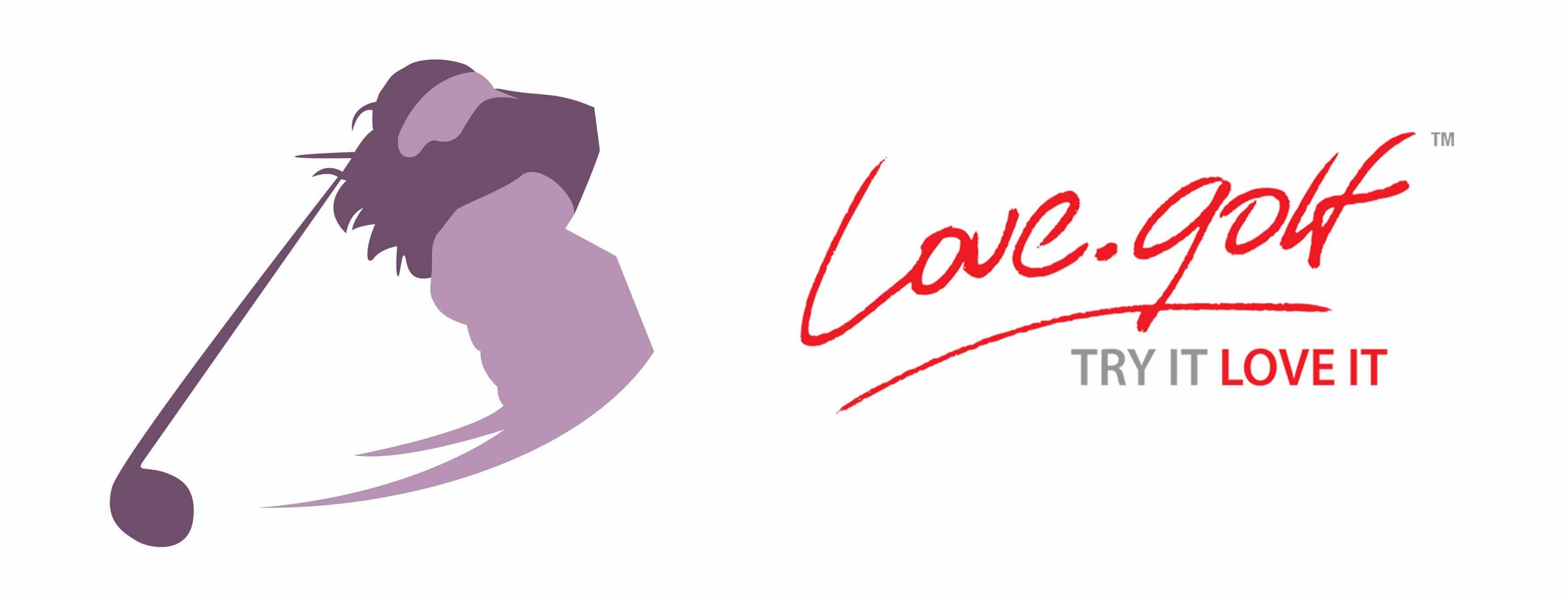 Image of kelly bridges silhouette completing her golf backswing alongside official logo of Love.golf