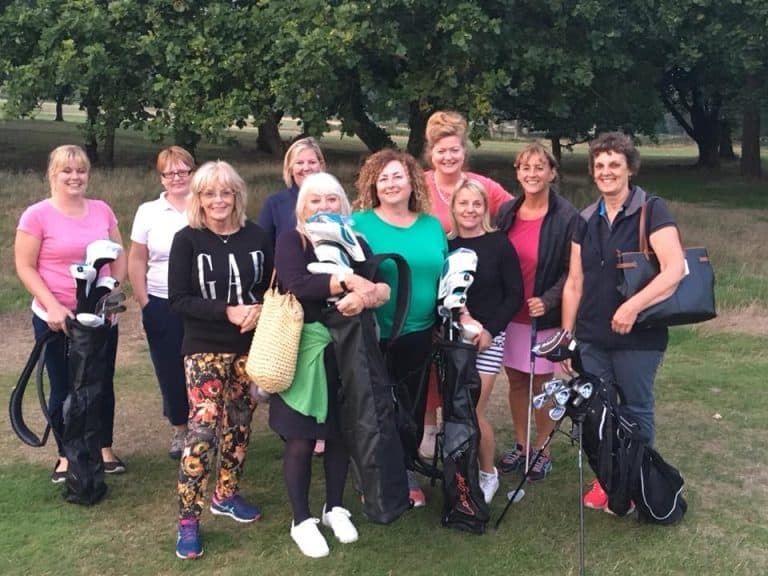 image of 10 ladies who attended the second beginner golf class with Kelly Bridges Golf at Canford School