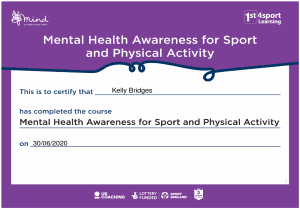 June 2020 Mental Health Awareness for Sport and Physical Activity Certificate