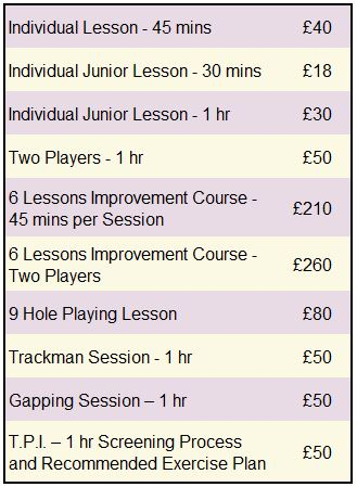 Table of prices for golf lessons with Kelly Bridges, PGA Professional at Broadstone Golf Club