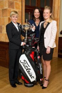 PGA Graduation 2014 - Image of top three female golfers, Alex Molin, Kelly Hanwell (now Kelly Bridges) and Emma Fairnie, at PGA annual graduation ceremony in April 2014